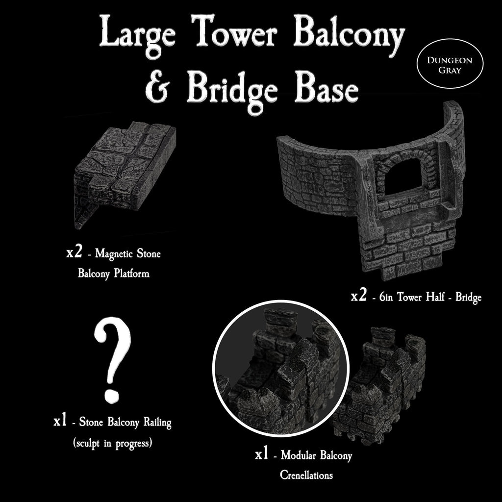 Large Tower Balcony & Bridge Base - Unpainted