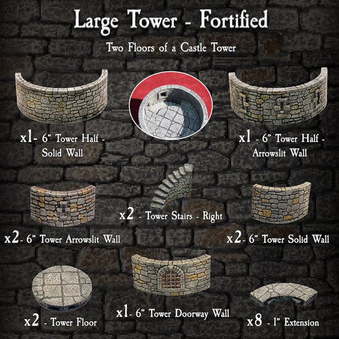 Large Tower Fortified - Painted