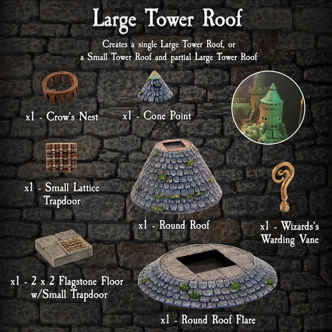 Large Tower Roofs Pack - Painted