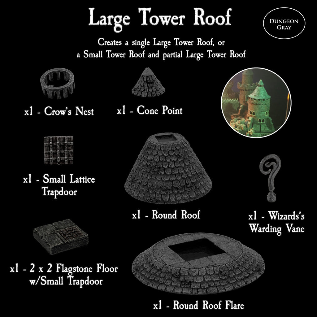 Large Tower Roofs Pack - Unpainted