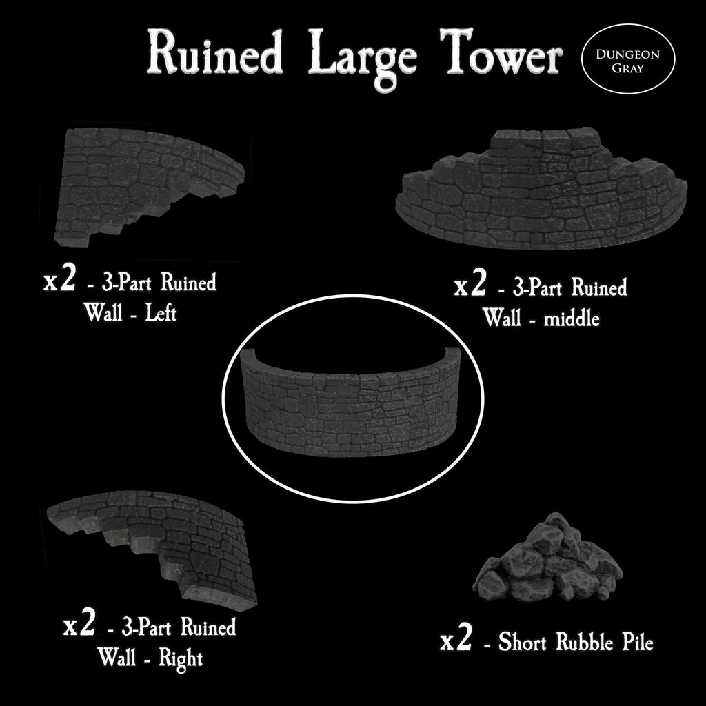 Ruined Large Tower - Unpainted