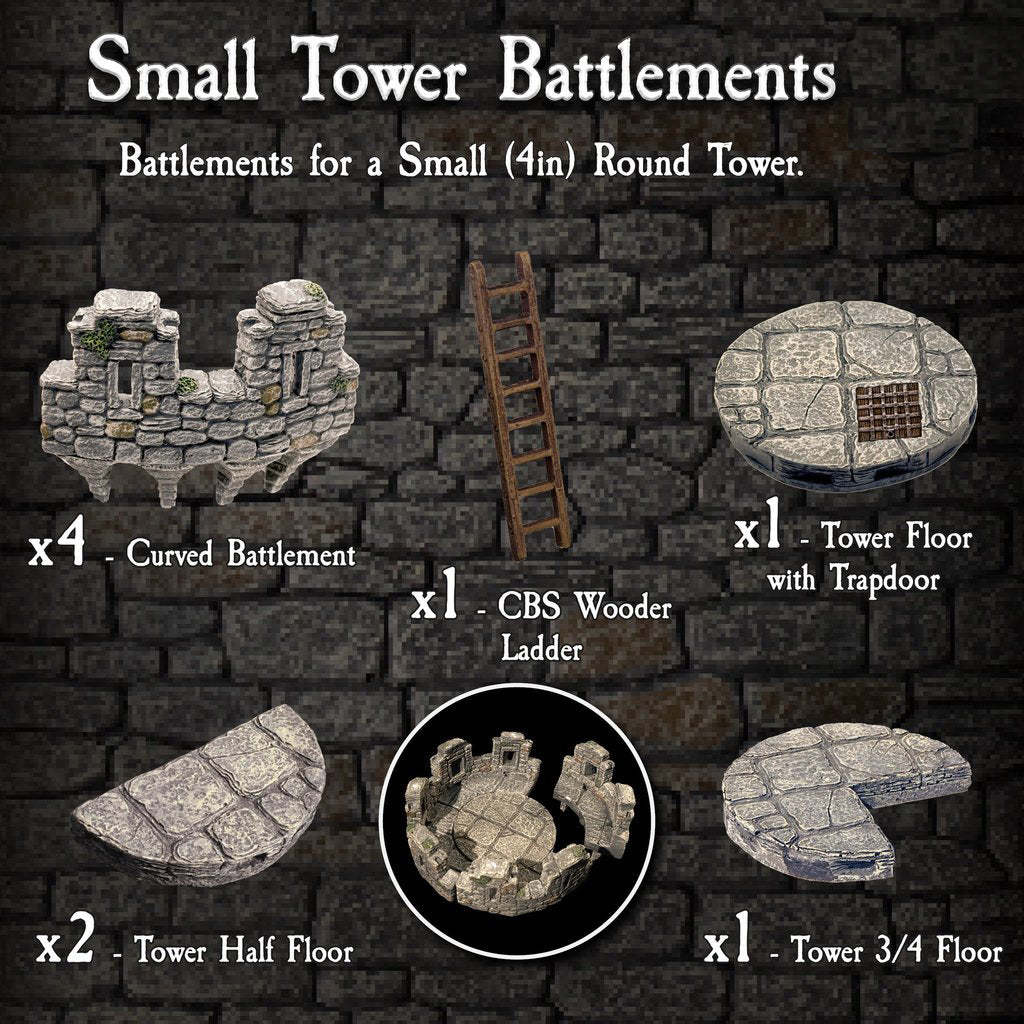 Small Tower Battlements - Painted