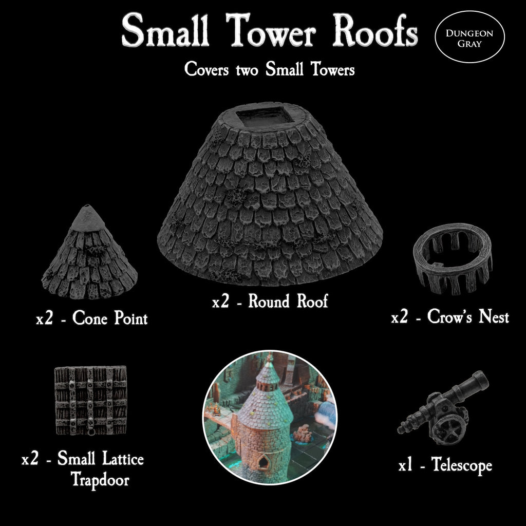 Small Tower Roofs Pack - Unpainted
