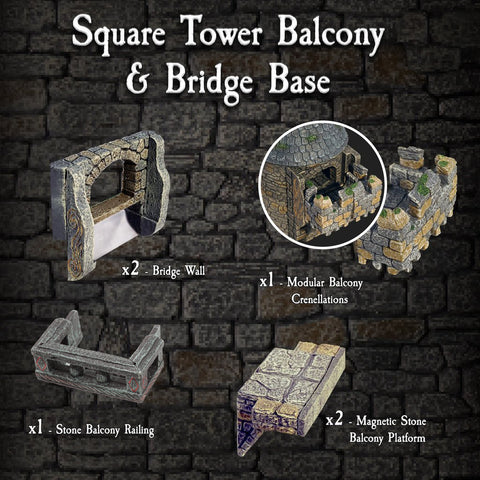 Square Tower Balcony & Bridge Base - Painted