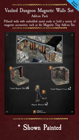 Vaulted Dungeon Magnetic Walls - Unpainted
