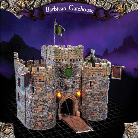 Barbican Gatehouse - Painted Manual Winch Drawbridge (no motor)