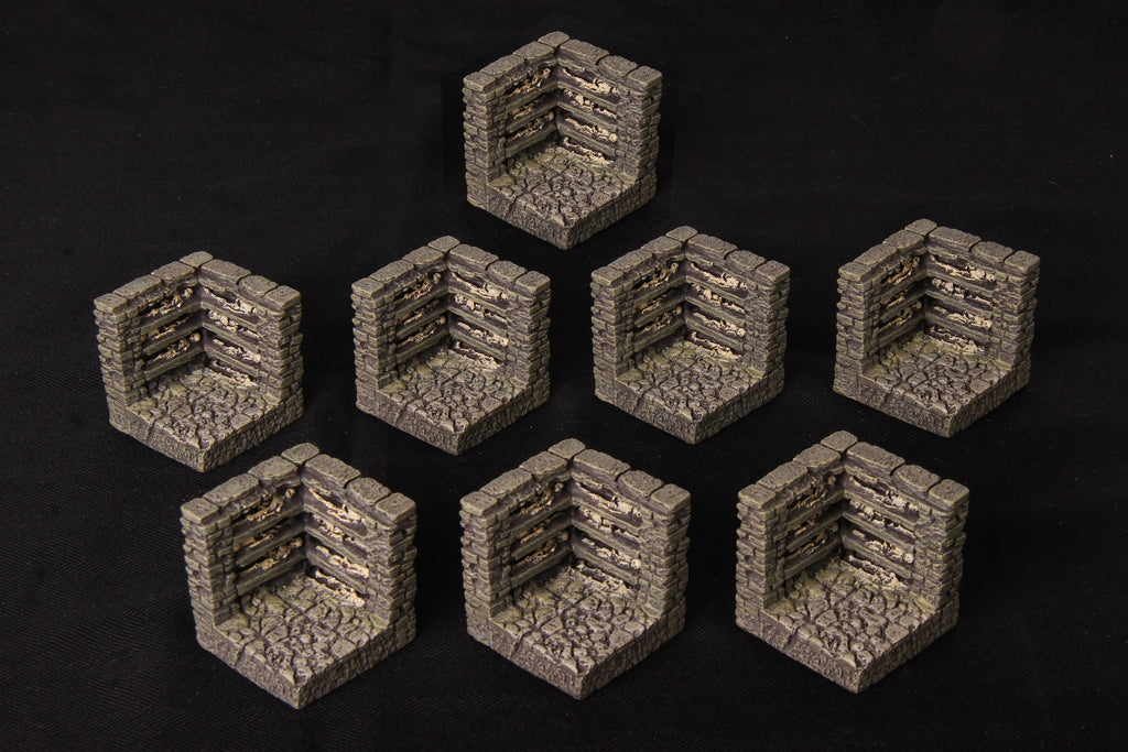 Catacombs Set 2 - Corner Walls - 8 pieces
