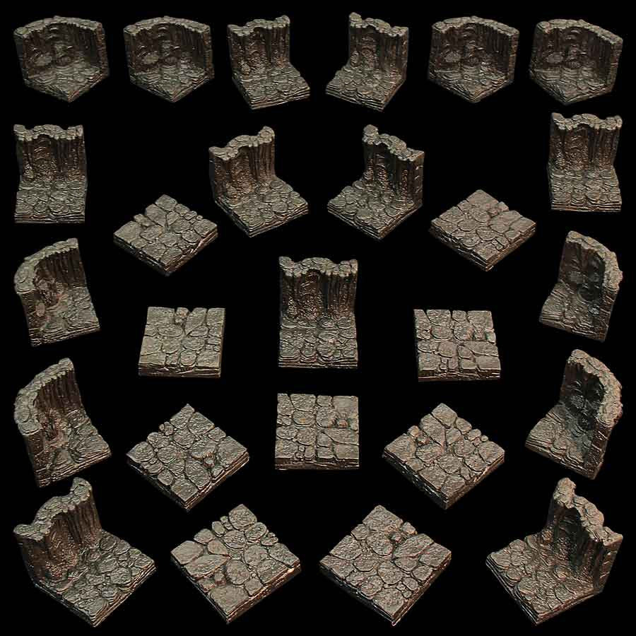 Basic Cavern Set - Standard Walls and Floors - Unpainted