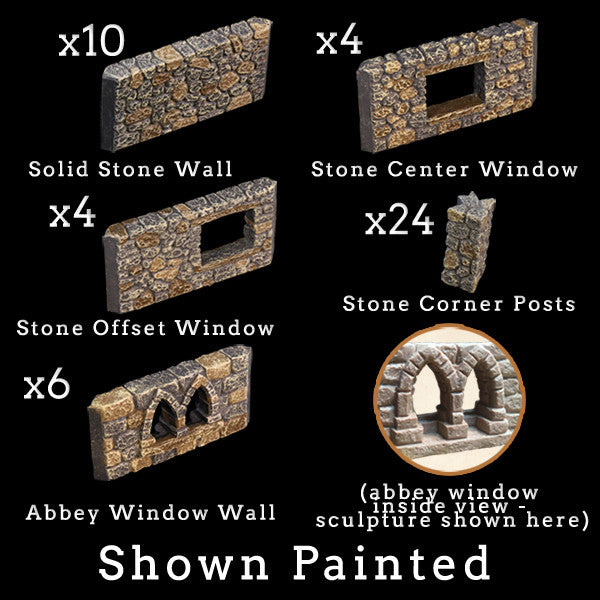 Stone Wall & Post Add-On Pack (Unpainted)