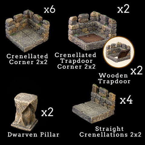 Tower Battlements Add-On Pack - Painted