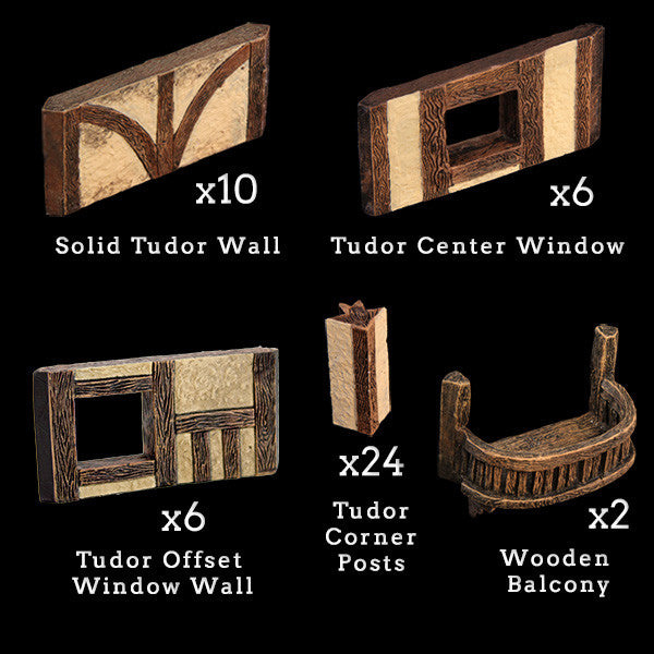 Tudor Wall & Post Add-On Pack - Painted