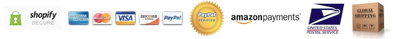 Shopify secure / accept Visa, Mastercard, American Express, Discover, Paypal, Amazon Pay / ship US and globally