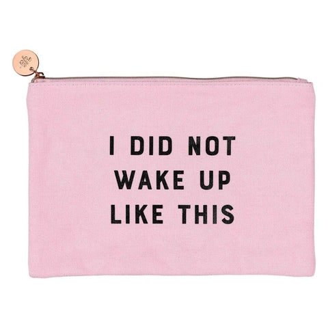 I Woke Up Like this Makeup Pouch in Blush Pink 2