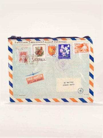 Airmail Zipper Pouch with Stamps - $6.99