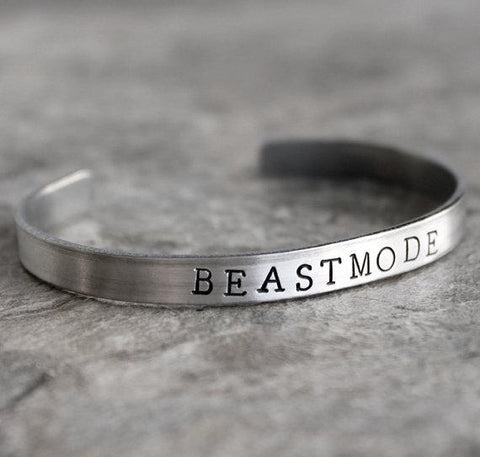 Beastmode Bracelet Hand Stamped Silver Cuff - $14.95