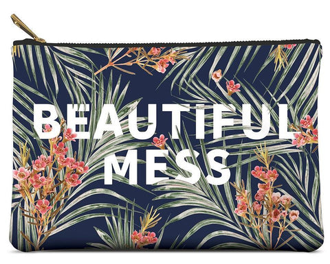 Beautiful Mess Large Zippered Pouch in Palm Leaves - $20.95