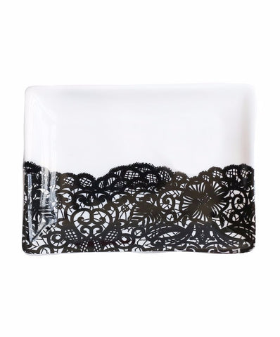 Classic Black Lace Jewelry Dish Porcelain Tray - $14.95