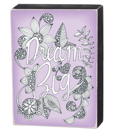 Color It Yourself Dream Big Box Sign in Purple and Wood
