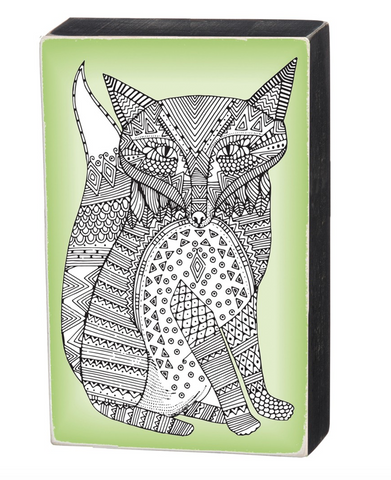 Color It Yourself Fox Box Sign in Green and Wood