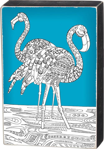 Color it Yourself Flamingo Sign with Teal Background