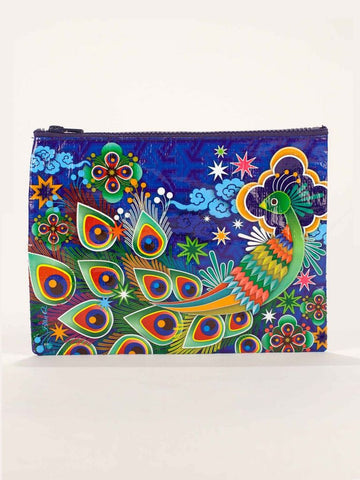 Colorful Peacock Zipper Pouch in Recycled Material - $6.99
