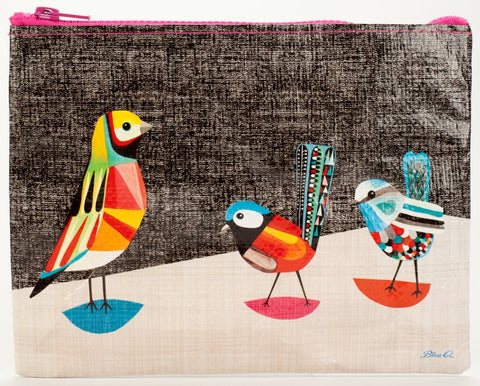 Colorful Pretty Bird Zipper Pouch in Recycled Material - $6.99