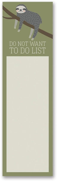 Do Not Want To Do List Sloth Magnetic Sticky Notepad in Mossy Green - $3.95
