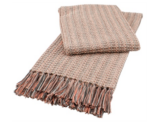 Dove Grey and Pink Shell Multicolored Fringed Throw Blanket