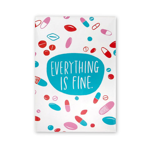 Everything is Fine Magnet in Pink, Blue, Red and White