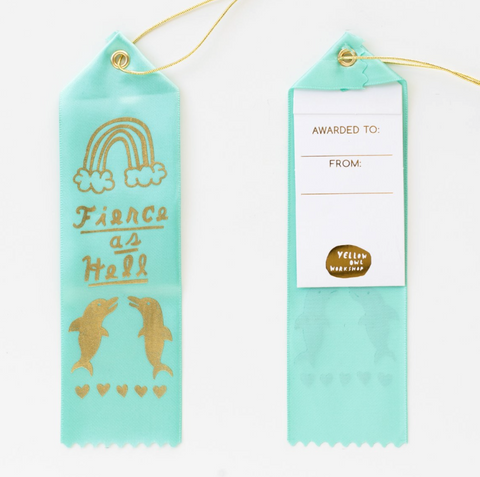 Fierce as Hell Ribbon Award in Aqua with Gold Lettering