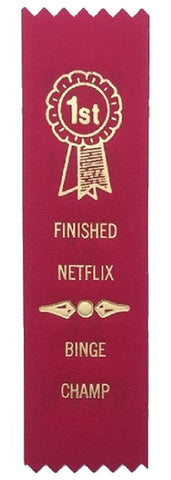 Finished Netflix Binge Champ Award Ribbon on Gift Card