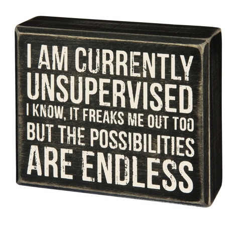 I Am Currently Unsupervised Box Sign in Black Wood with White Lettering - $11.95