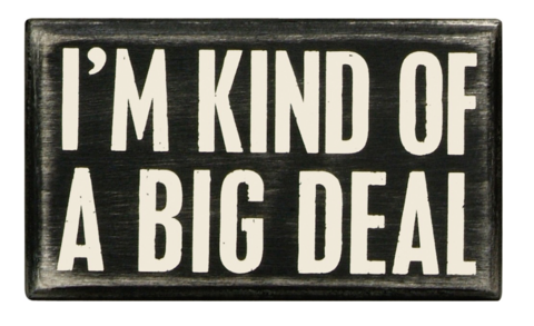 I'm Kind of a Big Deal Mini Box Sign in Wood with White Lettering