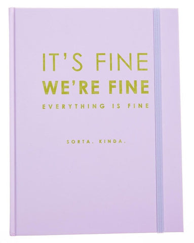 It's Fine We're Fine Lavender and Lime Hardbound Journal
