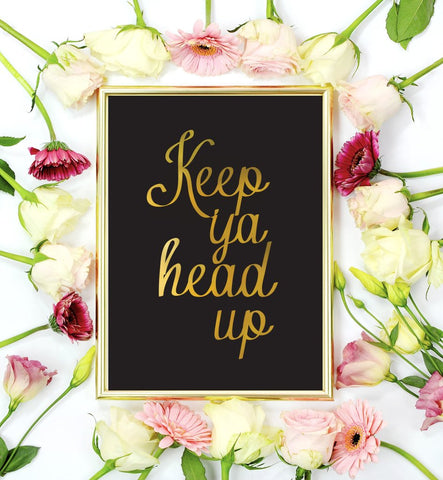 Keep Ya Head Up Mini Art Print in Black and Gold