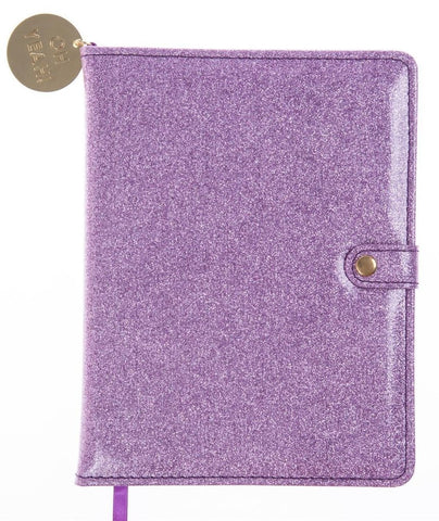 Lavender Glitter Snap Journal with Oh Yeah Gold Charm