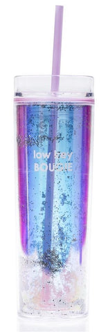 Low Key Bougie Lavender Glitter Skinny Tumbler with Unbreakable Straw