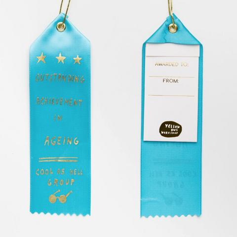 Outstanding Achievement in Ageing Ribbon Award in Blue with Gold Lettering