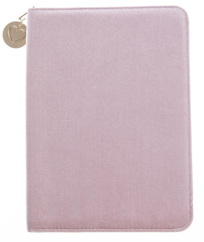 Pink Velvet Folio Organizer with Gold Heart Charm