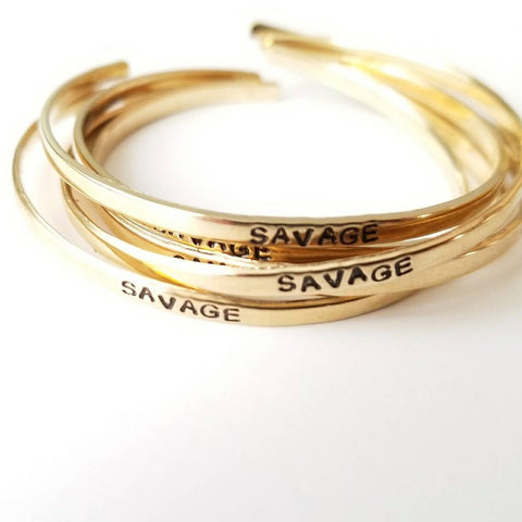 SAVAGE Thin Stacking Cuff Gold Bracelet