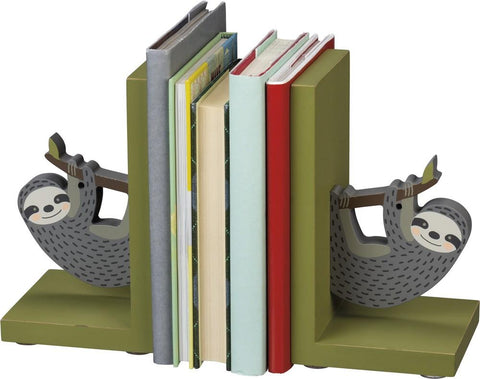 Sloth Wooden Book Ends in Grey and Mossy Green - $28.95