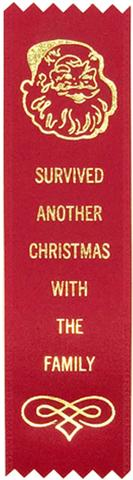 Survived Christmas Prize Award Ribbon on Gift Card