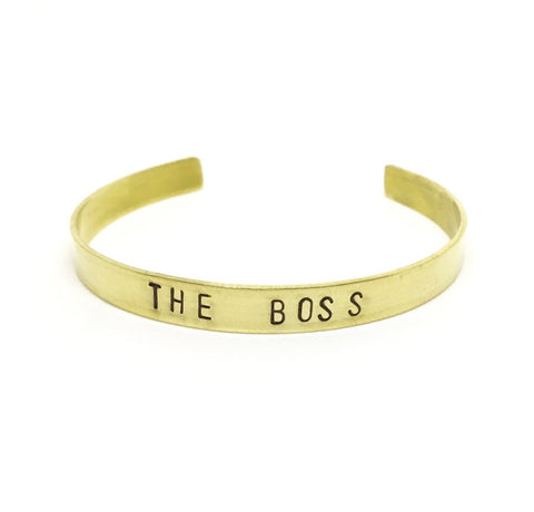 The Boss Hand Stamped Brass Cuff Bracelet