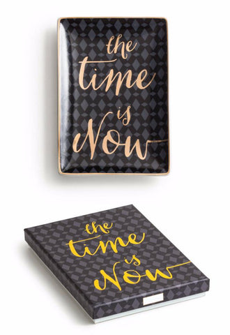 The Time is Now Tray in Black and Metallic Gold