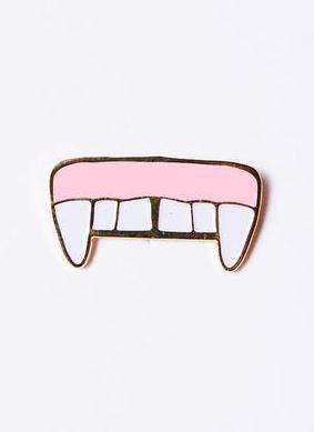 Vampire Fangs Gap Tooth Enamel Pin