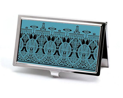 Victorian Business Card Case in Teal and Black Ironwork