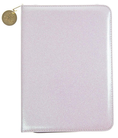 White Glitter Folio Organizer with Oh Yeah Gold Charm