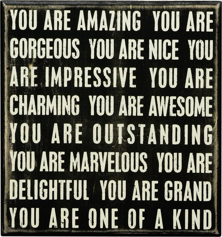 You Are Amazing and Gorgeous Wood Painted Gift Box Sign - $23.95