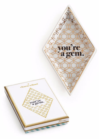 You're a Gem Diamond Tray in White and Metallic Gold - $19.95