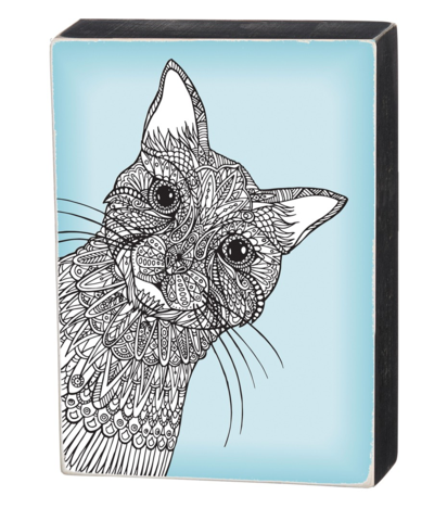 Color It Yourself Cat Box Sign in Aqua and Wood